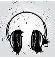 Headphones grunge style vector