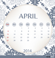 2014 calendar vintage calendar template for april vector