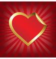 Golden heart sticker with sunburst vector