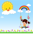Girl with sun rainbow and cloud 002 vector