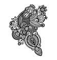Black line art ornate flower design ukrainian vector