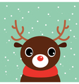 Cute cartoon christmas deer on snowing background vector