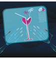 Character is holding a menu with drinks vector