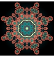 Red coloured ornamental mandala on black vector