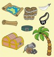 Pirates icon and tree vector