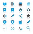 E-book reader flat with reflection icons vector