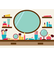 Mirror shelves and dressing table with make up vector