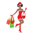Christmas girl shopping vector