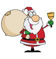 Santa claus waving a bell vector