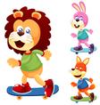 Animals skateboard vector