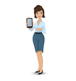 Businesswoman with a tablet touch pad 380 vector