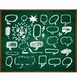 Hand-drawn doodles on green school board vector