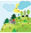 Summer fantasy landscape with hedgehog vector