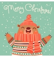 Christmas card with a cute brown bear vector