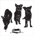 Dogs near bowl vector