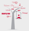 Valentine background with tree and bird vector