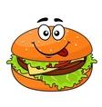 Tasty meaty cheeseburger on a sesame bun vector