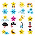 Cute weather kawaii icons -star rainbow moon vector
