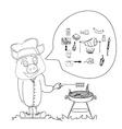 Cartoon pig having a bbq vector