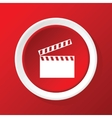 Clapperboard icon on red vector