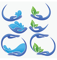 Clean women hands fresh water and green leaves vector