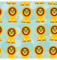 Seamless pattern with funny cute lion animal on a vector