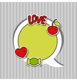 Speech bubble with sticker kawaii doodles vector