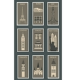 Stamps with famous cities vector