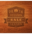 2014 autumn sale label on wood texture vector