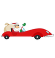 Santa driving sports car vector