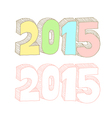 2015 number drawing vector