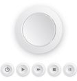 Media player white push button vector