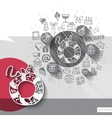 Hand drawn wreath icons with icons background vector