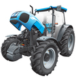 Tractor with open hood vector