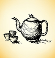 Sketch drawing of teapot with cup vector