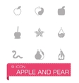 Apple and pear icon set vector