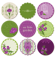 Scrapbook design elements - tags with iris flowers vector