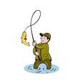 Fisherman fly fishing reeling fish vector