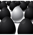 White egg among black eggs concept vector