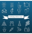 Birthday outline icons vector