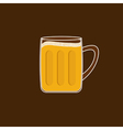 Beer glass mug with foam cap froth bubble flat des vector