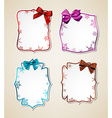 White paper gift cards with color satin bows vector
