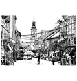 Digital sketch black and white of uzhgorod vector
