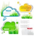 Colorful grass speech sticker vector