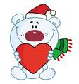 Polar bear holding a heart vector