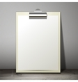 Blank white paper sheet in a clipboard of standing vector