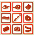 Set of 9 retro icons with meat pieces vector