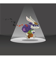 Valentines day card rabbit running away with bag f vector