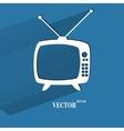 Retro tv flat modern web button with long shadow vector