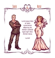 Elegant wedding invintantion with bride and groom vector